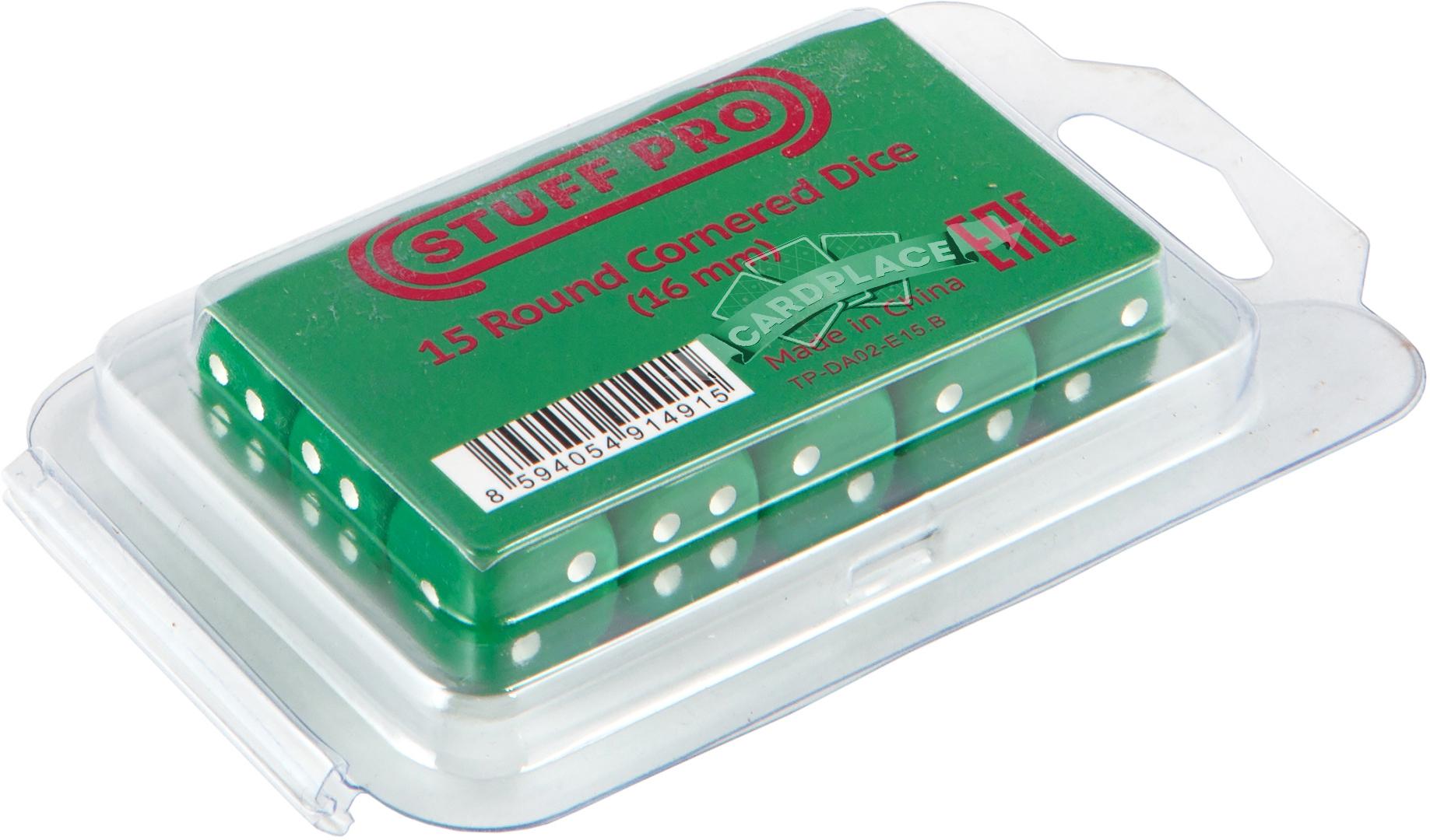 Набор кубиков d6: зеленые (15 шт, 16 мм)